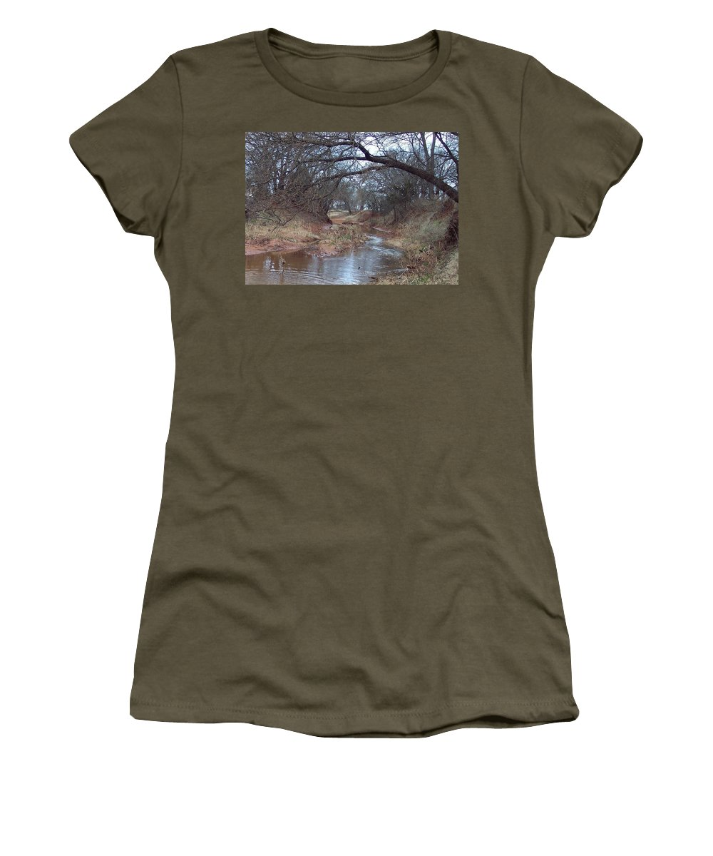 Landscapes Women's T-Shirt (Athletic Fit) featuring the photograph Rivers Bend by Shari Chavira