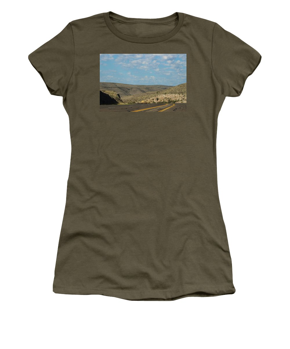New Mexico Women's T-Shirt featuring the photograph Road Through New Mexico Desert High Noon by Colleen Cornelius