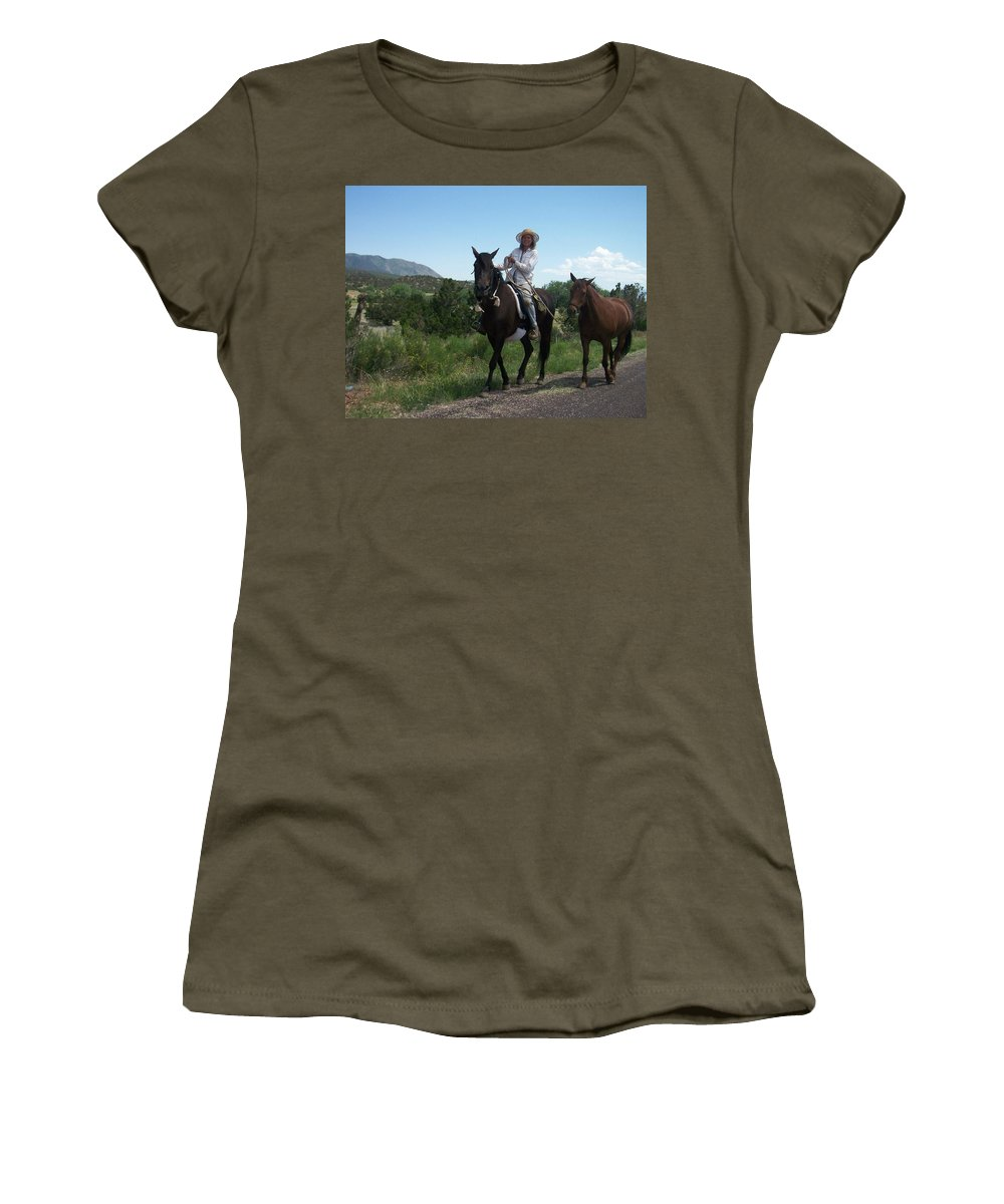 Horses Women's T-Shirt featuring the photograph Roadside Horses by Anita Burgermeister