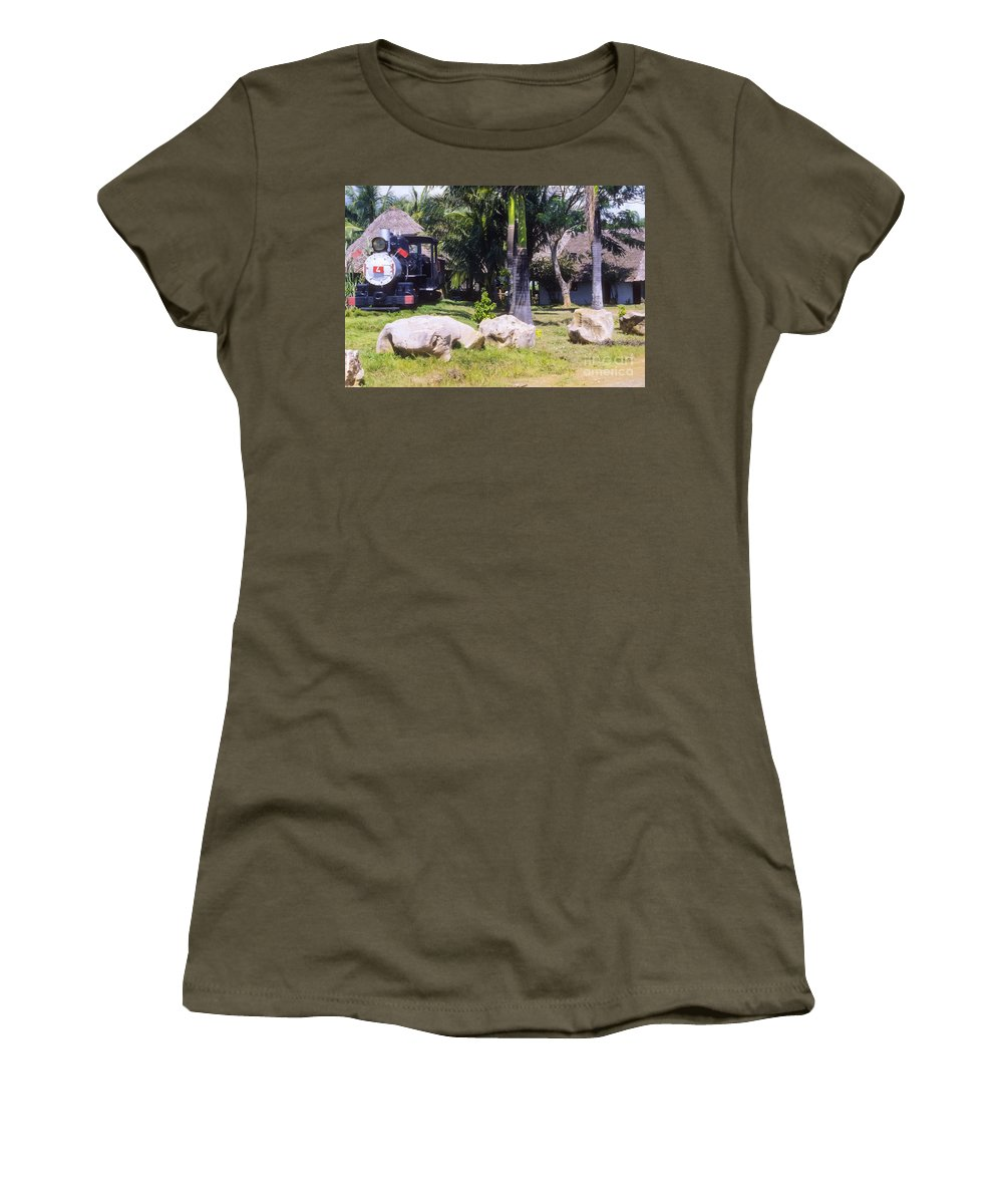 Cuba Countryside Road Park Parks Train Engine Train Engines Landscape Landscapes Rock Rocks Odds And Ends Women's T-Shirt featuring the photograph Roadside Park by Bob Phillips