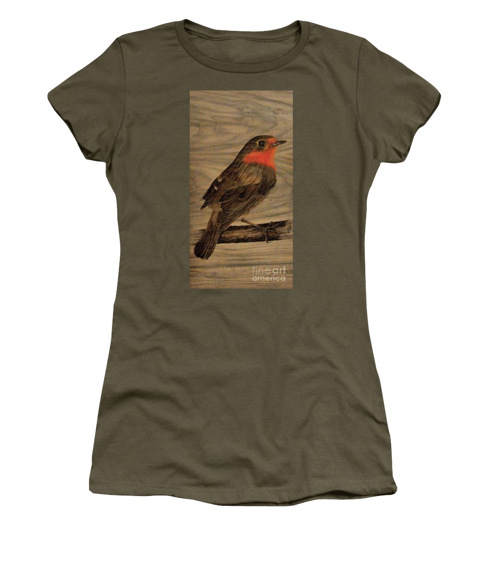 Robin Women's T-Shirt (Athletic Fit) featuring the pyrography Robin by Ilaria Andreucci