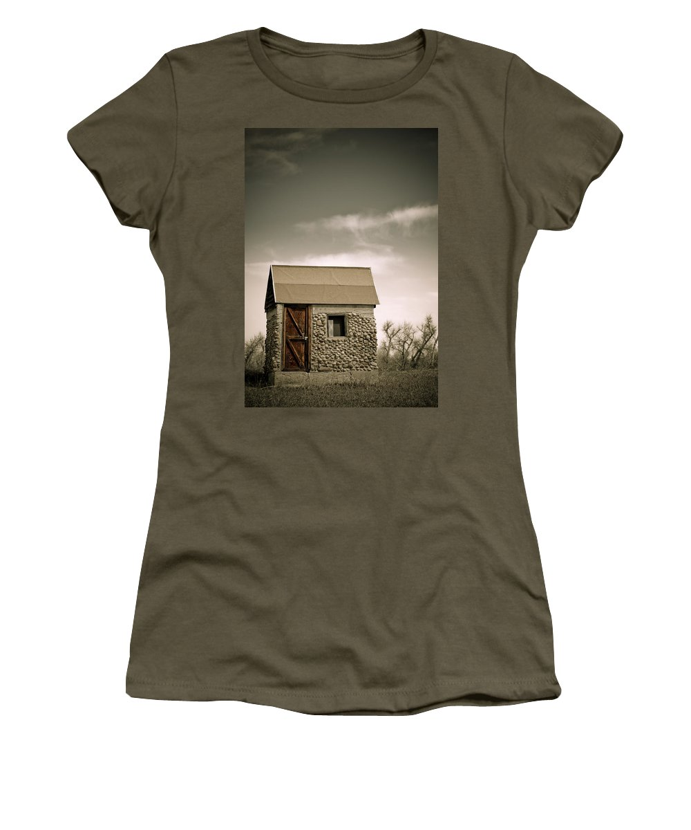 Rock Women's T-Shirt (Athletic Fit) featuring the photograph Rock Shed by Marilyn Hunt