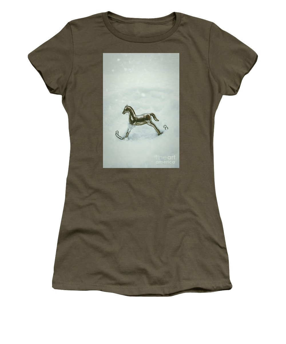 Rocking Women's T-Shirt (Athletic Fit) featuring the photograph Rocking Horse In Snow by Amanda Elwell