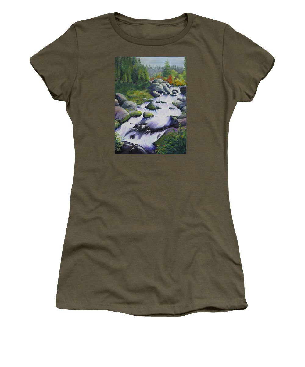 Waterfall Women's T-Shirt (Athletic Fit) featuring the painting Rocky Creek by Karen Stark