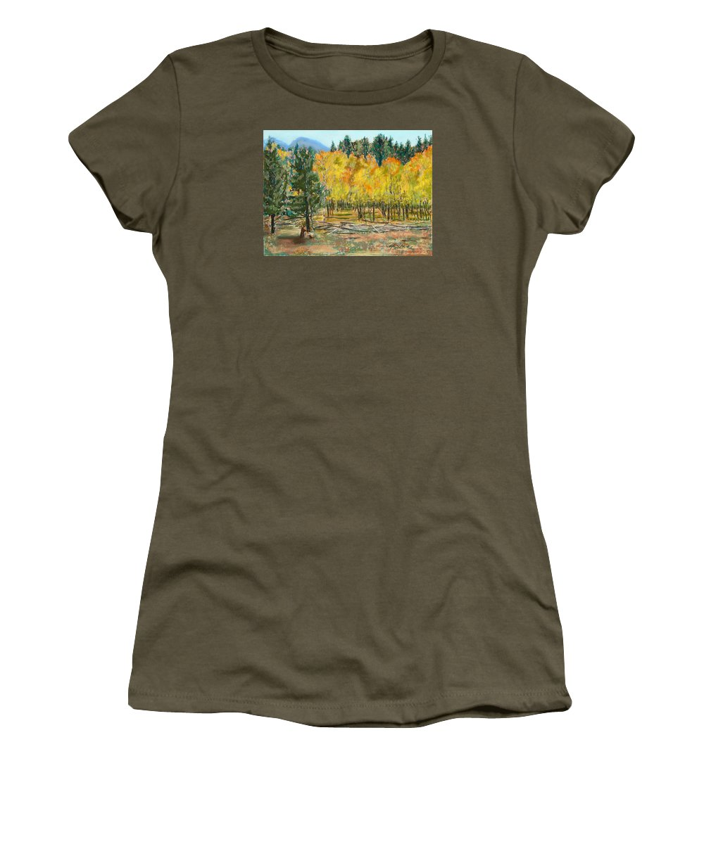 Elk Women's T-Shirt (Athletic Fit) featuring the painting Rocky Mountain Siesta by Mary Benke
