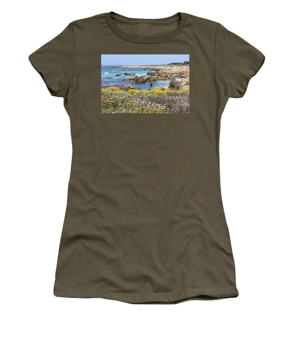Ocean Women's T-Shirt (Athletic Fit) featuring the photograph Rocky Surf With Wildflowers by Carol Groenen