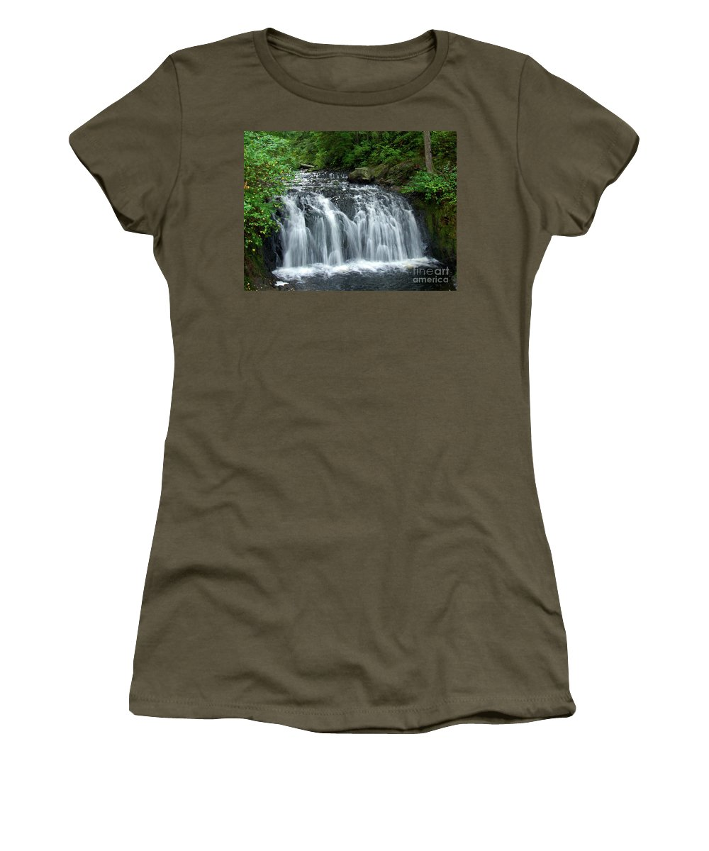 Waterfall Women's T-Shirt featuring the photograph Rolley Lake Falls Dry Brushed by Sharon Talson