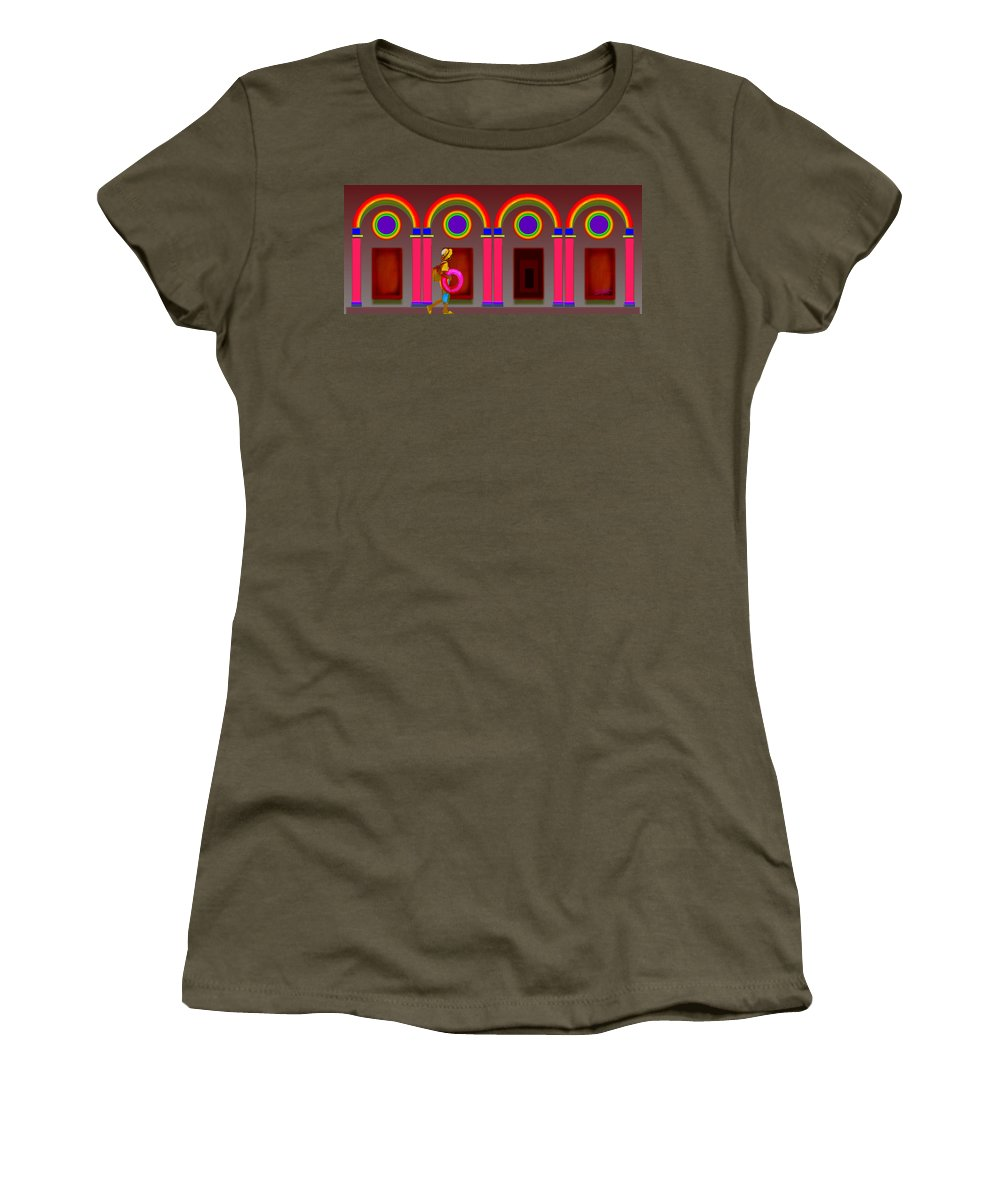 Classical Women's T-Shirt featuring the digital art Roman Red by Charles Stuart