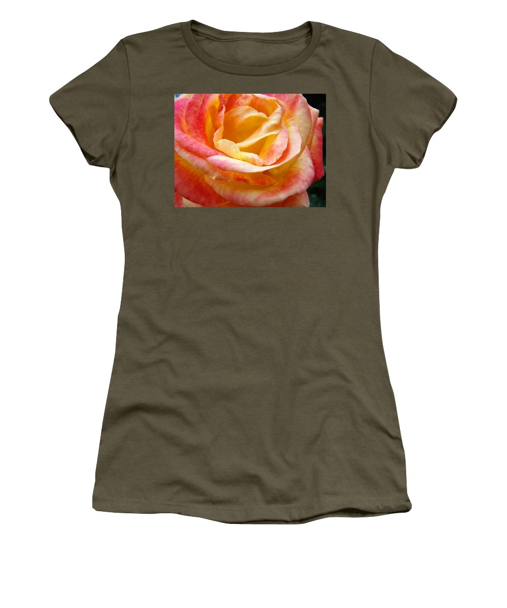 Rose Women's T-Shirt featuring the photograph Rose Art Pink Yellow Summer Rose Floral Baslee Troutman by Baslee Troutman