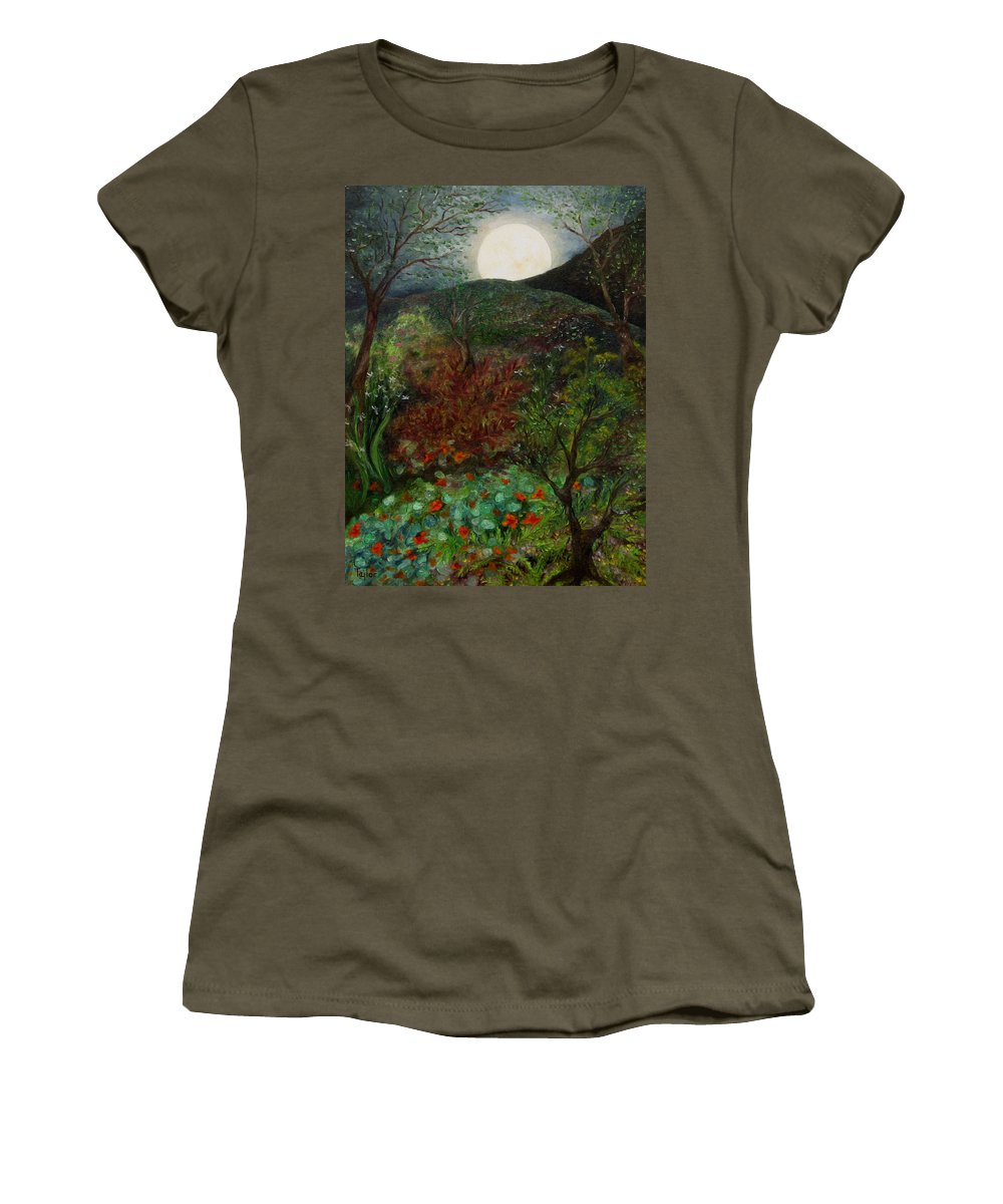 Forest Women's T-Shirt featuring the painting Rose Moon by FT McKinstry