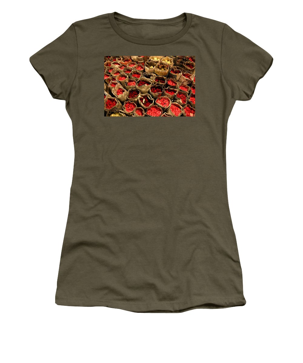 Roses Women's T-Shirt (Athletic Fit) featuring the photograph Rose Rolled In Newspaper by Minaz Jantz