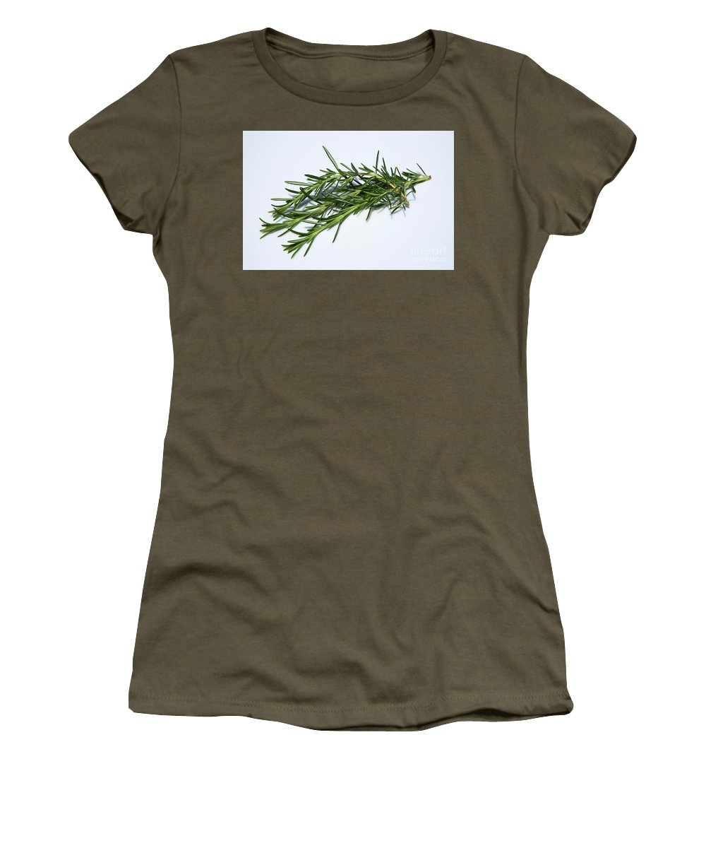 Rosemary Women's T-Shirt (Athletic Fit) featuring the photograph Rosemary Isolated On White by Bruce Block