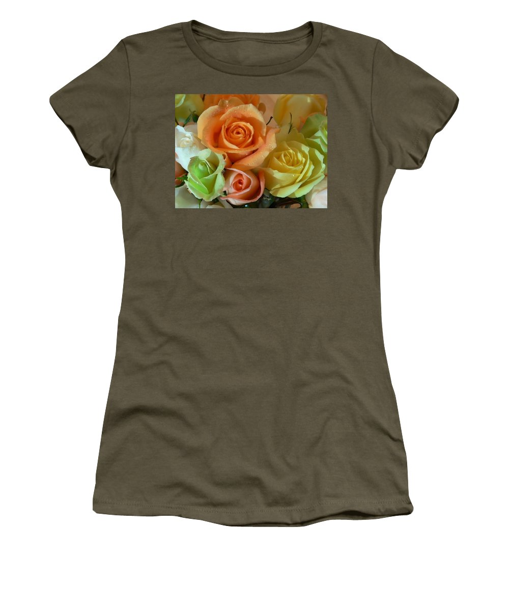 New England Photos Women's T-Shirt featuring the photograph Roses In Pastel by Nancie DeMellia