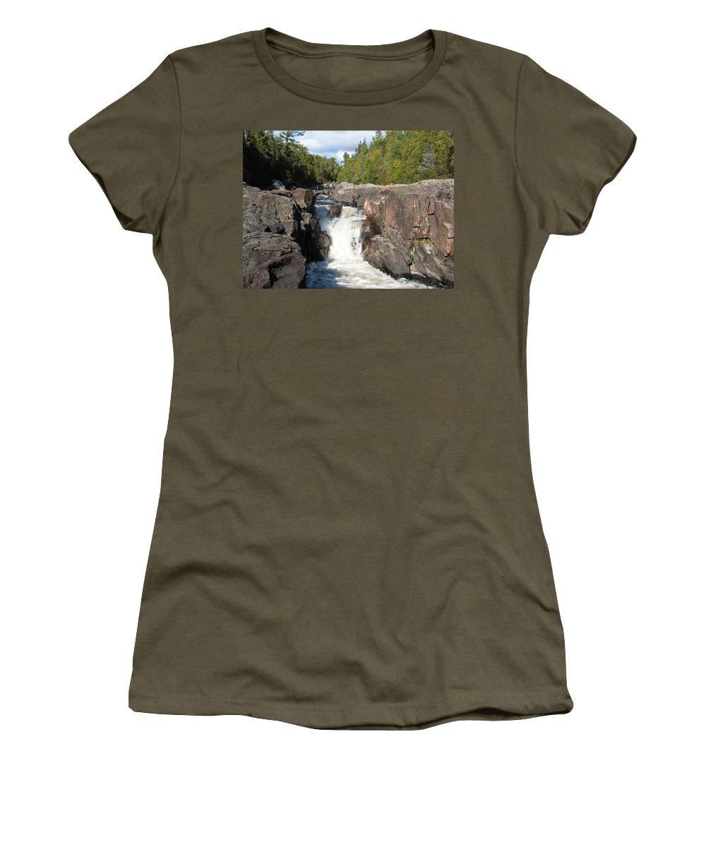 Waterfall Women's T-Shirt featuring the photograph Rosetone Falls by Kelly Mezzapelle