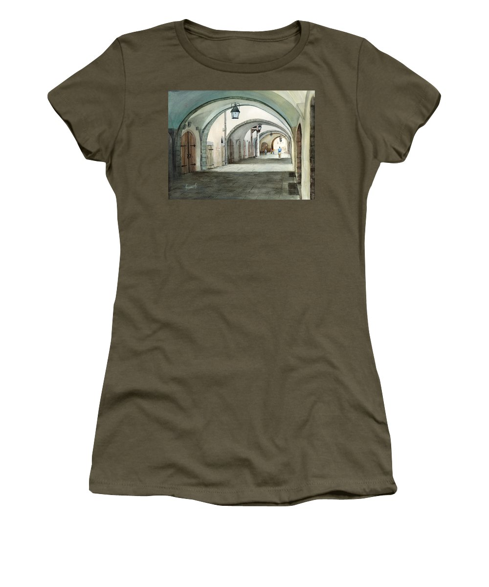 Germany Women's T-Shirt (Athletic Fit) featuring the painting Rothenburg Backstreet by Sam Sidders