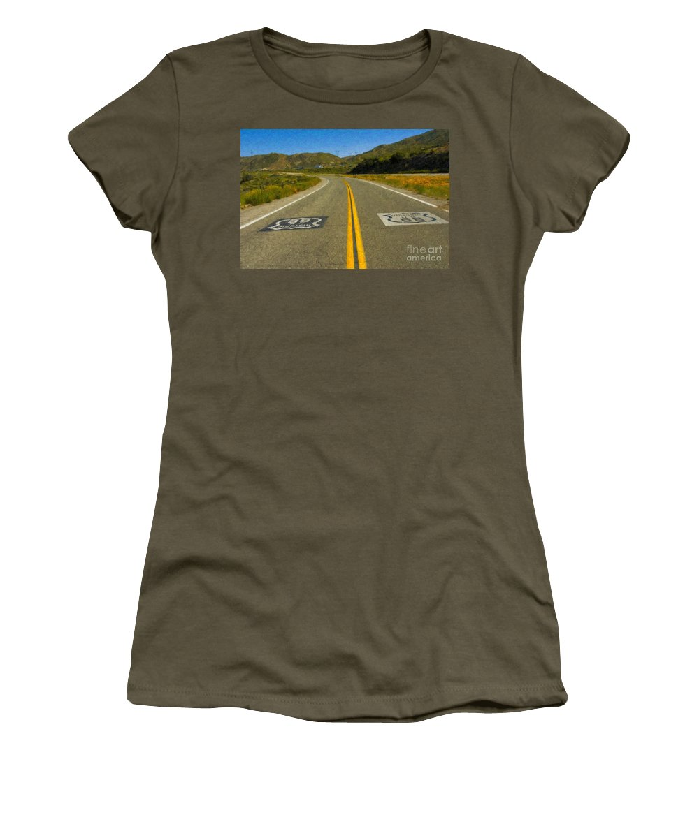 National Women's T-Shirt (Athletic Fit) featuring the photograph Route 66 National Historic Road by David Zanzinger