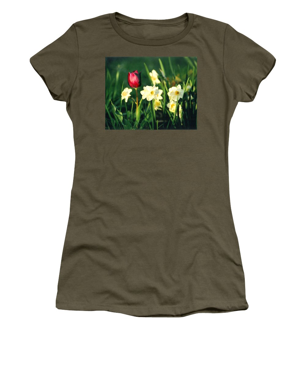 Tulips Women's T-Shirt (Athletic Fit) featuring the photograph Royal Spring by Steve Karol