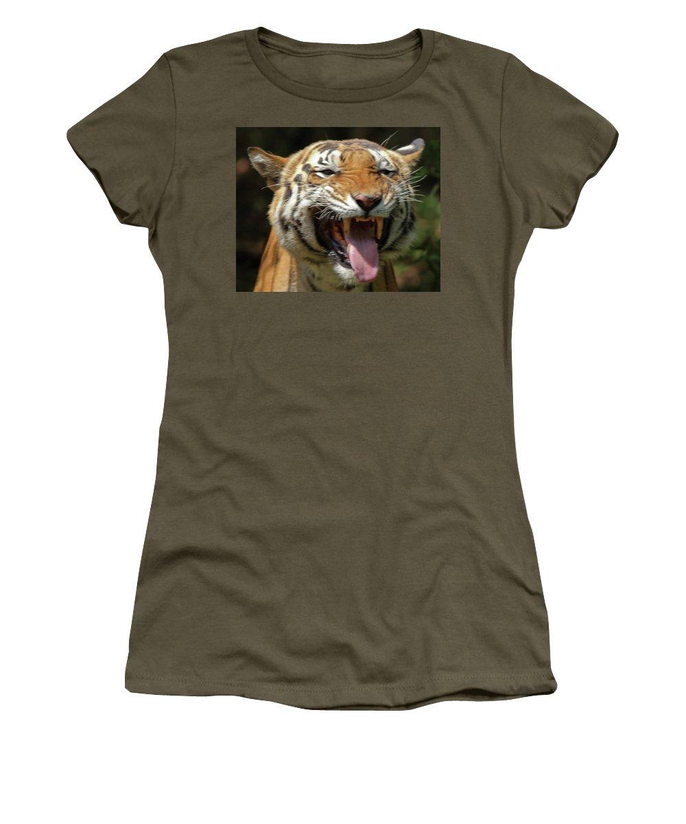 Roaring Tiger Women's T-Shirt featuring the photograph Royal Tiger by Navin Varma