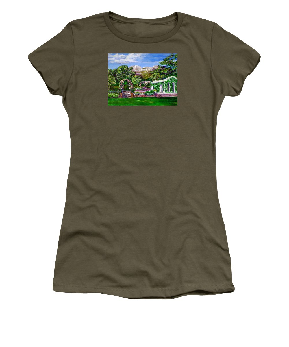 Landscape Women's T-Shirt (Athletic Fit) featuring the painting Rozannes Garden by Michael Durst