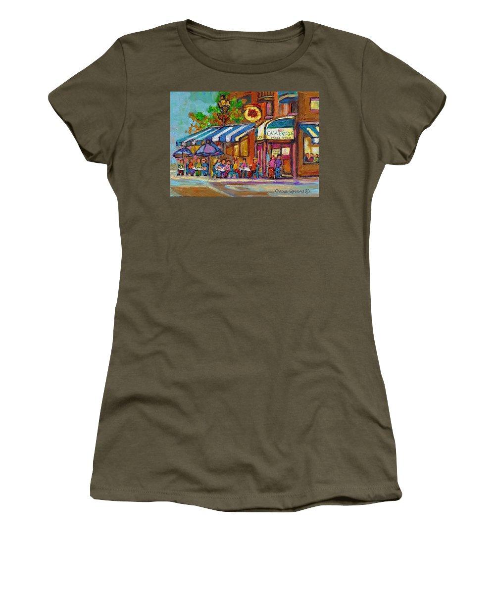 Women's T-Shirt featuring the painting Rue Prince Arthur Casa Grecque Montreal by Carole Spandau