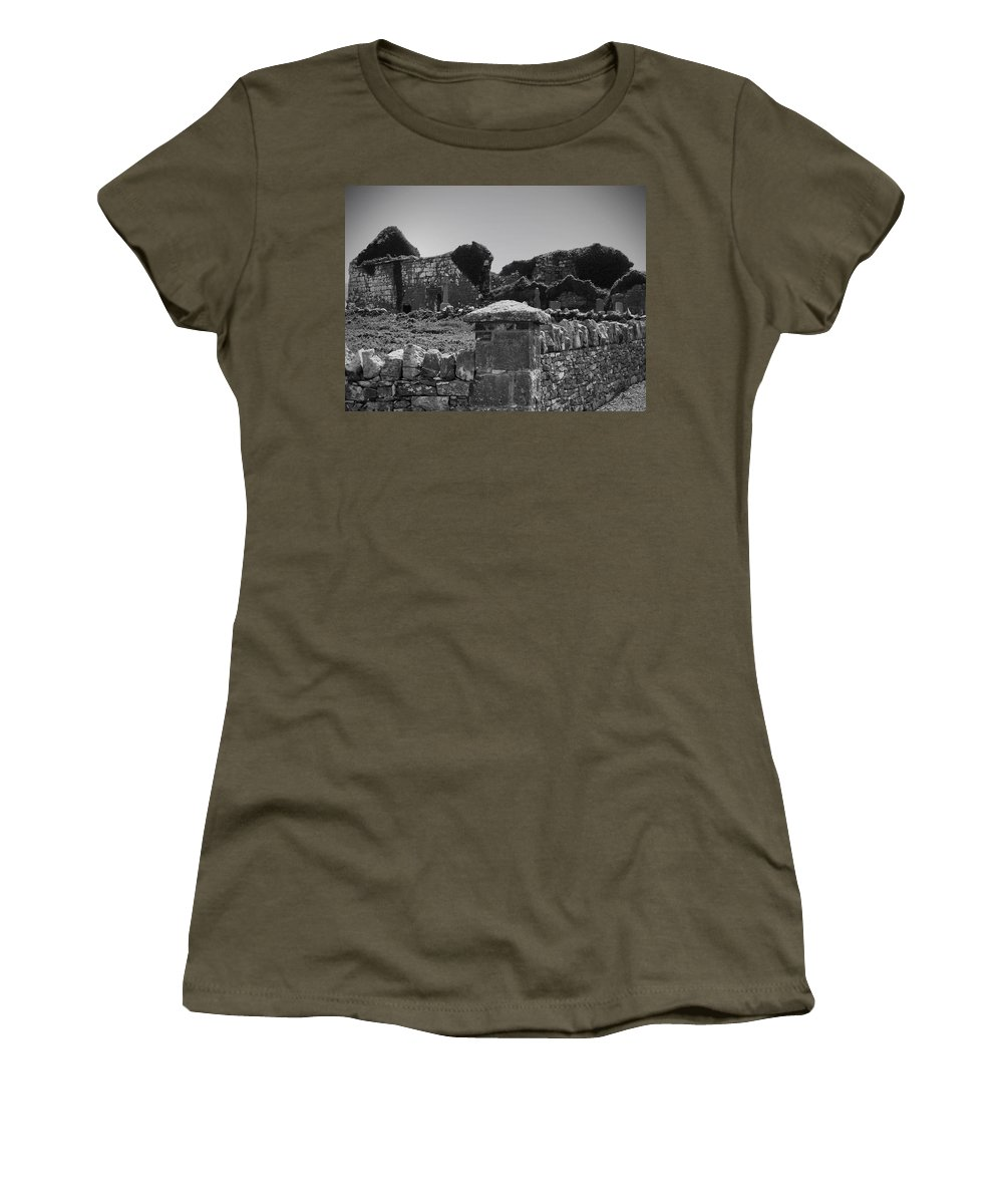 Irish Women's T-Shirt (Athletic Fit) featuring the photograph Ruins In The Burren County Clare Ireland by Teresa Mucha