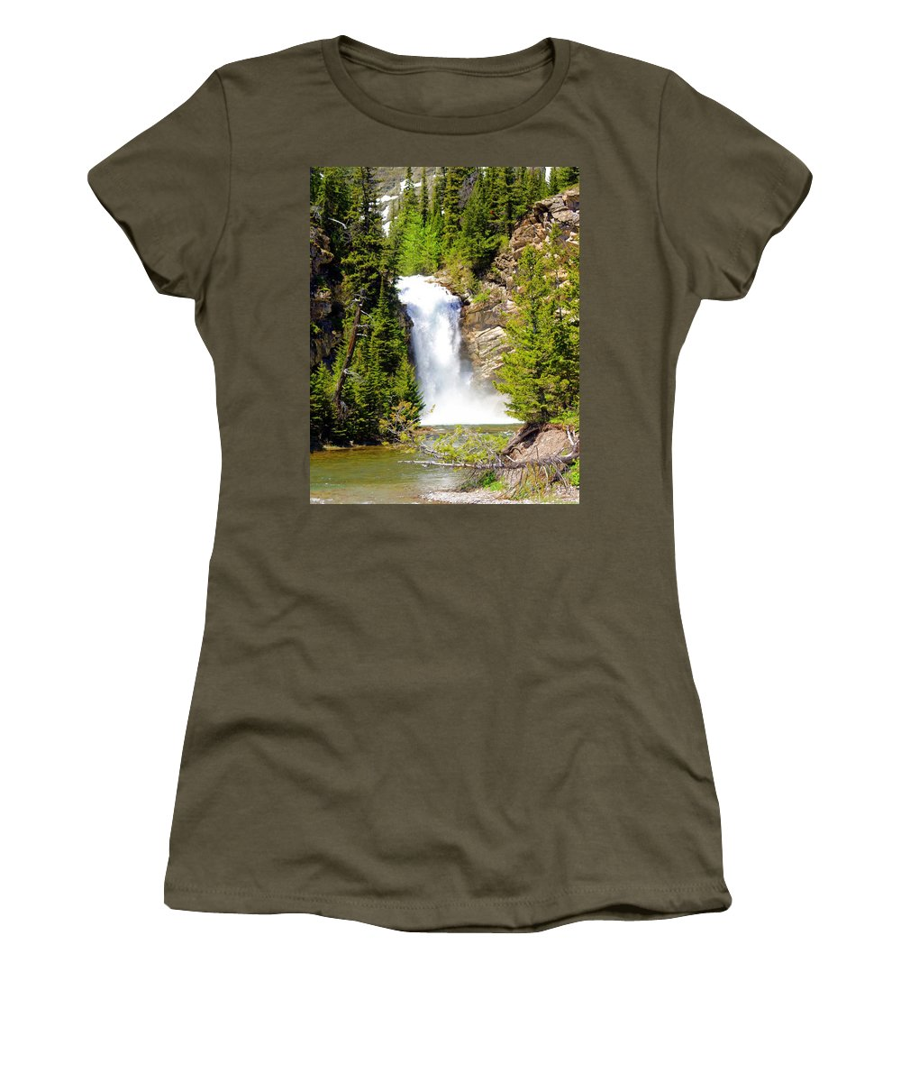 Waterfalls Women's T-Shirt featuring the photograph Running Eagle Falls by Marty Koch