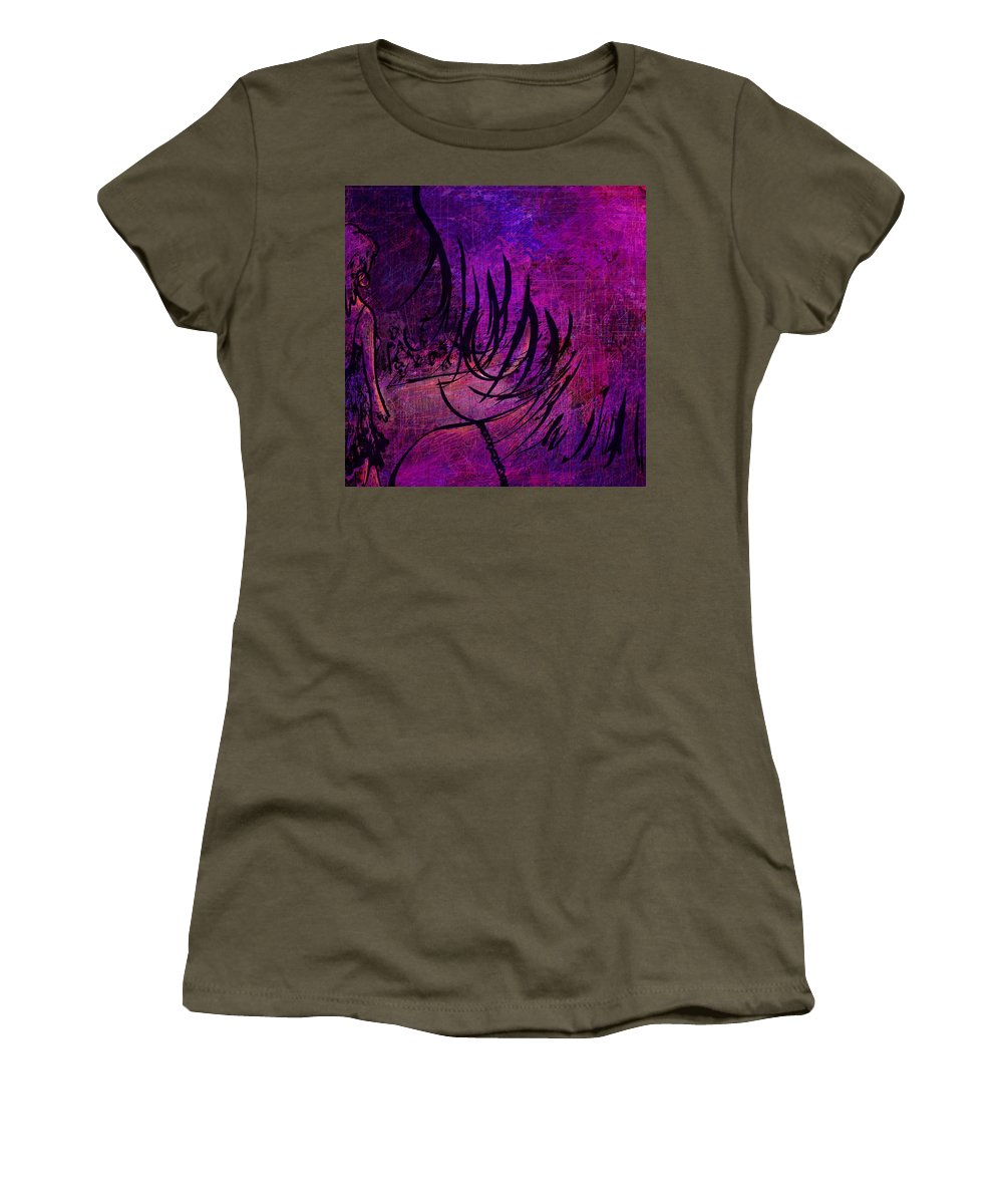 Abstract Women's T-Shirt (Athletic Fit) featuring the digital art Runway by Rachel Christine Nowicki