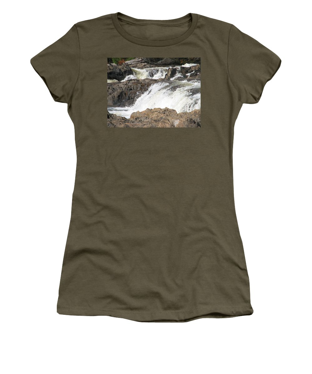 Waterfall Women's T-Shirt (Athletic Fit) featuring the photograph Rushing by Kelly Mezzapelle