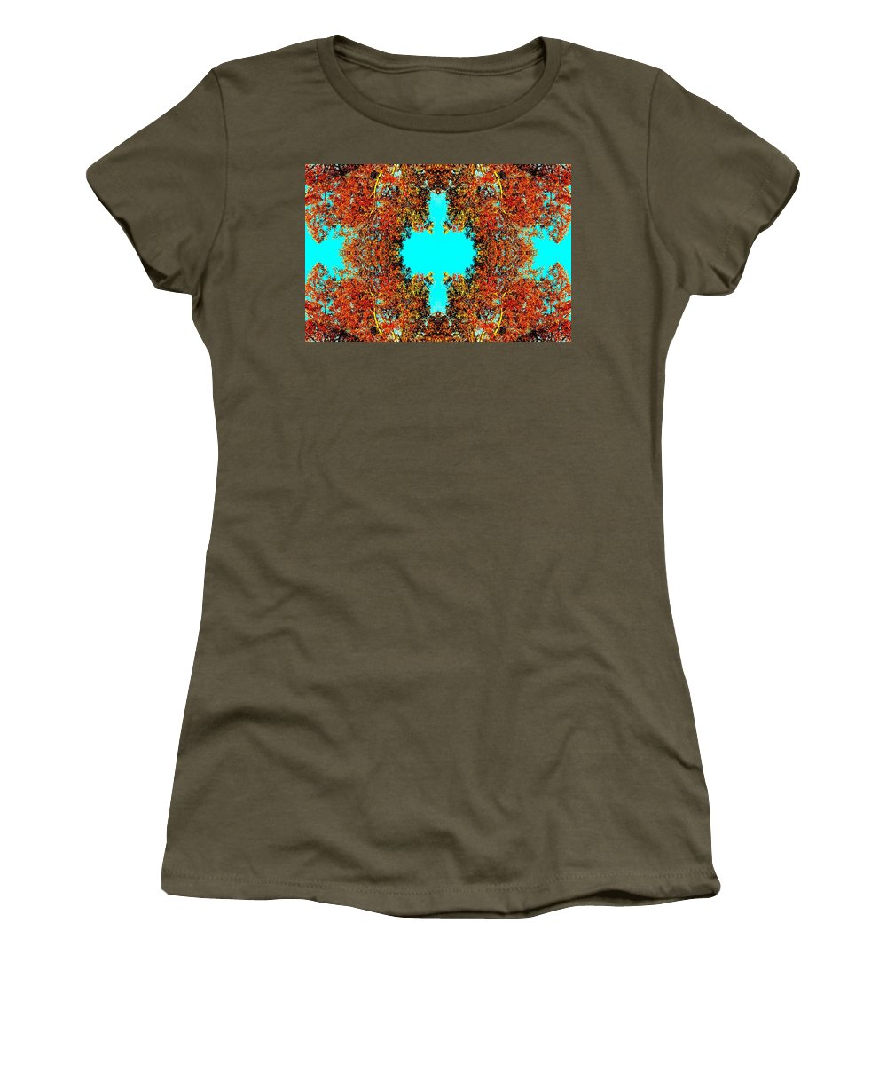 Fall Women's T-Shirt (Athletic Fit) featuring the photograph Rust And Sky by Marianne Dow