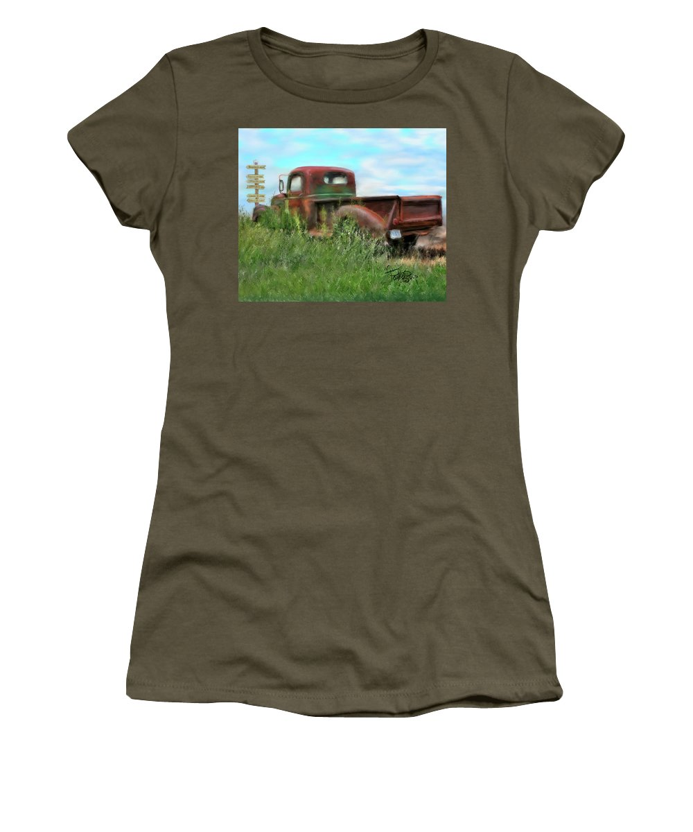 Rusted Out Trucks Women's T-Shirt featuring the painting Rusted Not Retired by Colleen Taylor