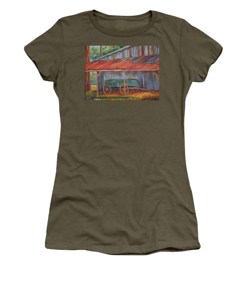 Old Wagons Women's T-Shirt featuring the painting Rustification by Ginger Concepcion