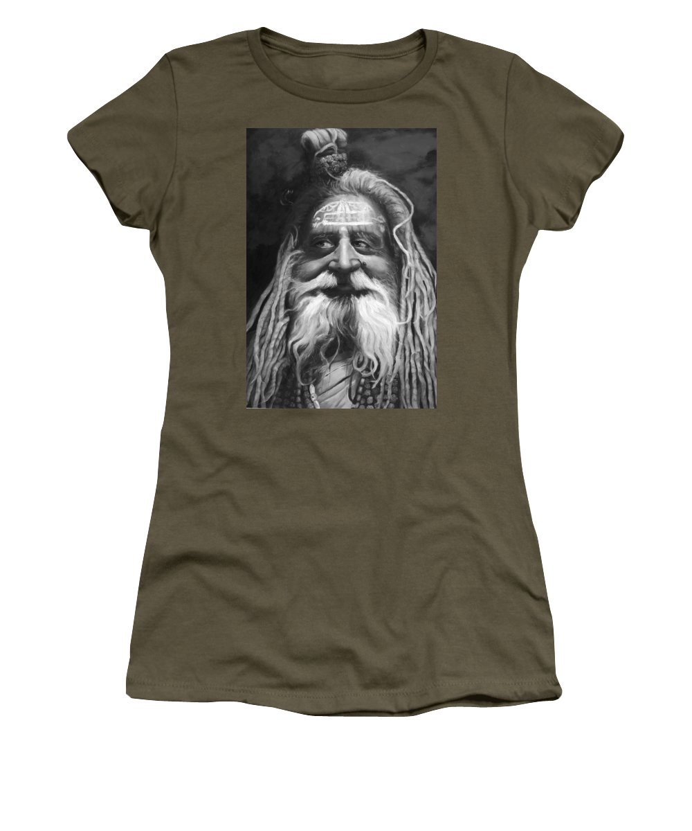 Sadhu Women's T-Shirt (Athletic Fit) featuring the painting Sadhu by Portraits By NC