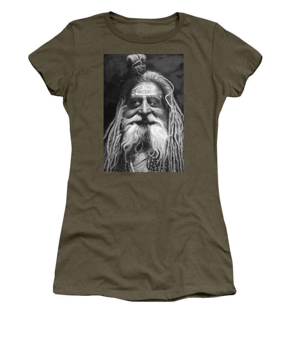 Sadhu Women's T-Shirt featuring the painting Sadhu by Portraits By NC