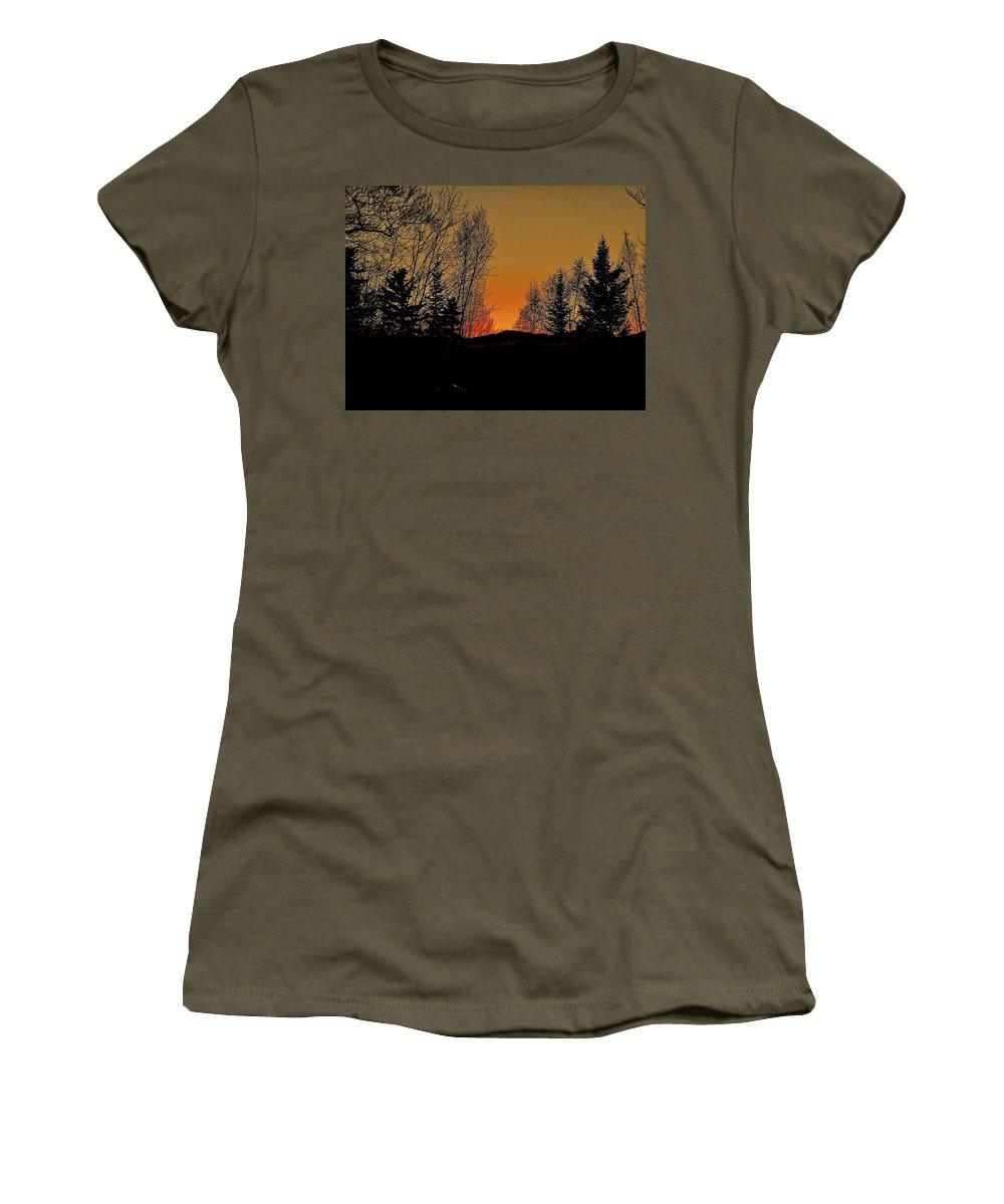 Mountain Women's T-Shirt (Athletic Fit) featuring the photograph Saffron Sunset by Elizabeth Tillar