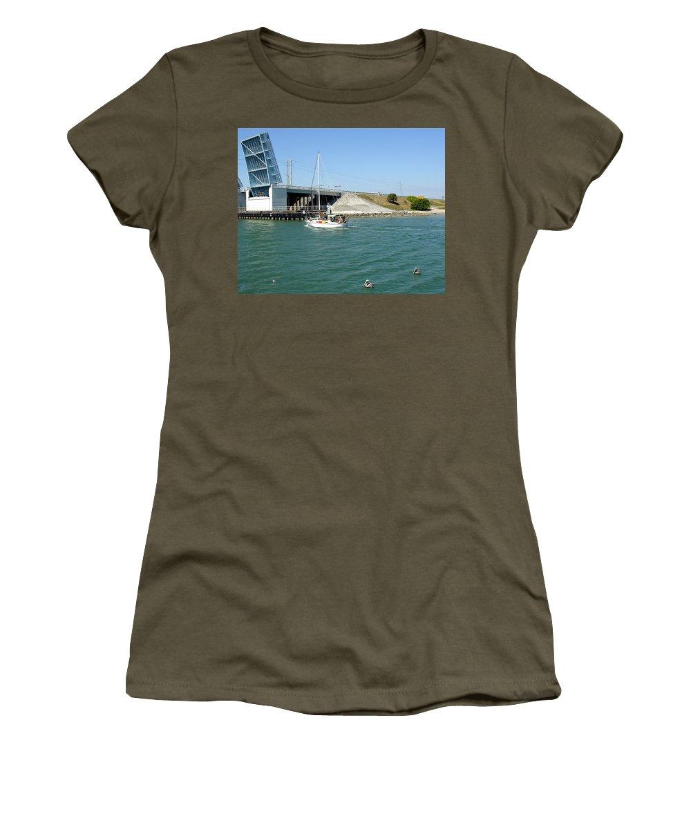 Port; Canaveral; Locks; Sail; Boat; Pelicans; Sailboat Drawbridge; Sailboat; Indian River; Indian; I Women's T-Shirt featuring the photograph Sailing In Port Canaveral Florida by Allan Hughes