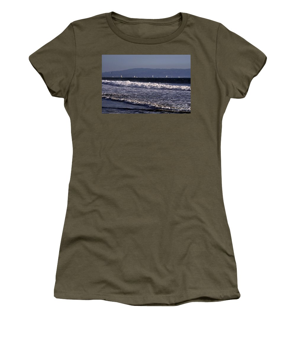 Clay Women's T-Shirt featuring the photograph Sailing In Santa Monica by Clayton Bruster