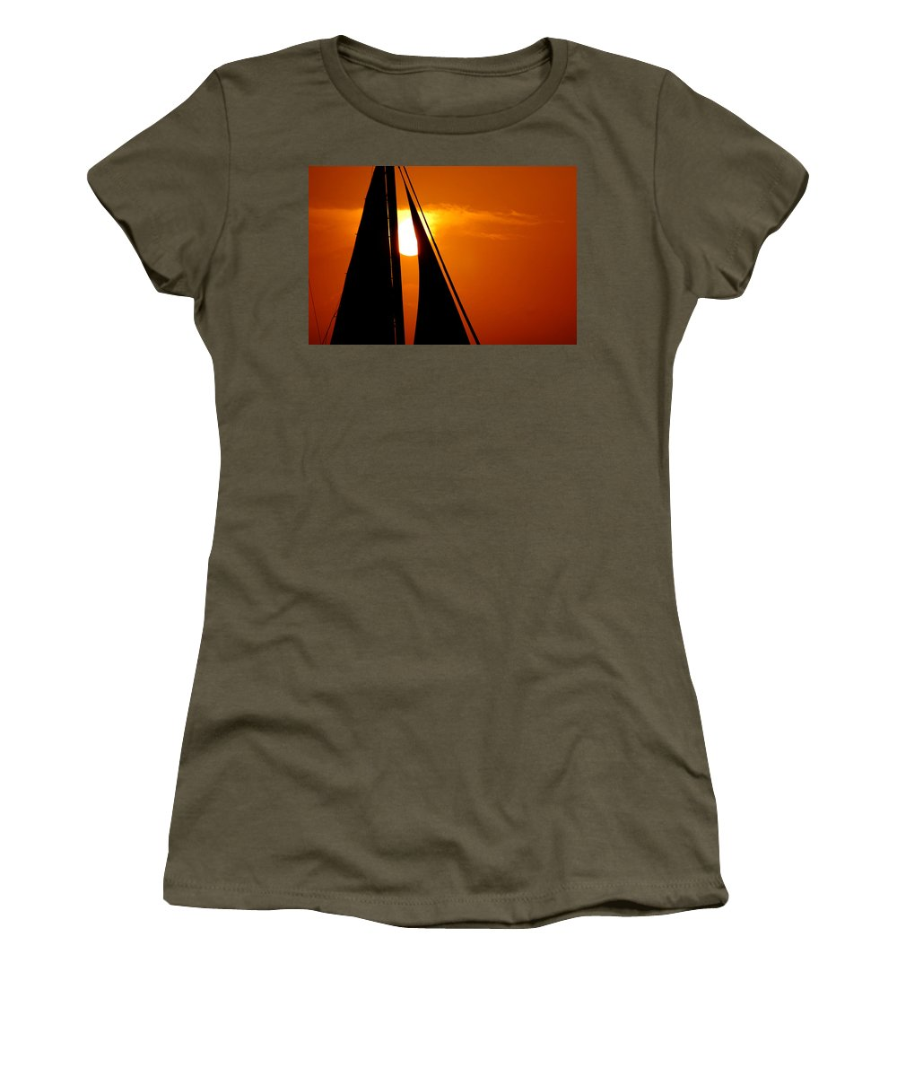 Photography Women's T-Shirt featuring the photograph Sailing Into The Sunset by Susanne Van Hulst