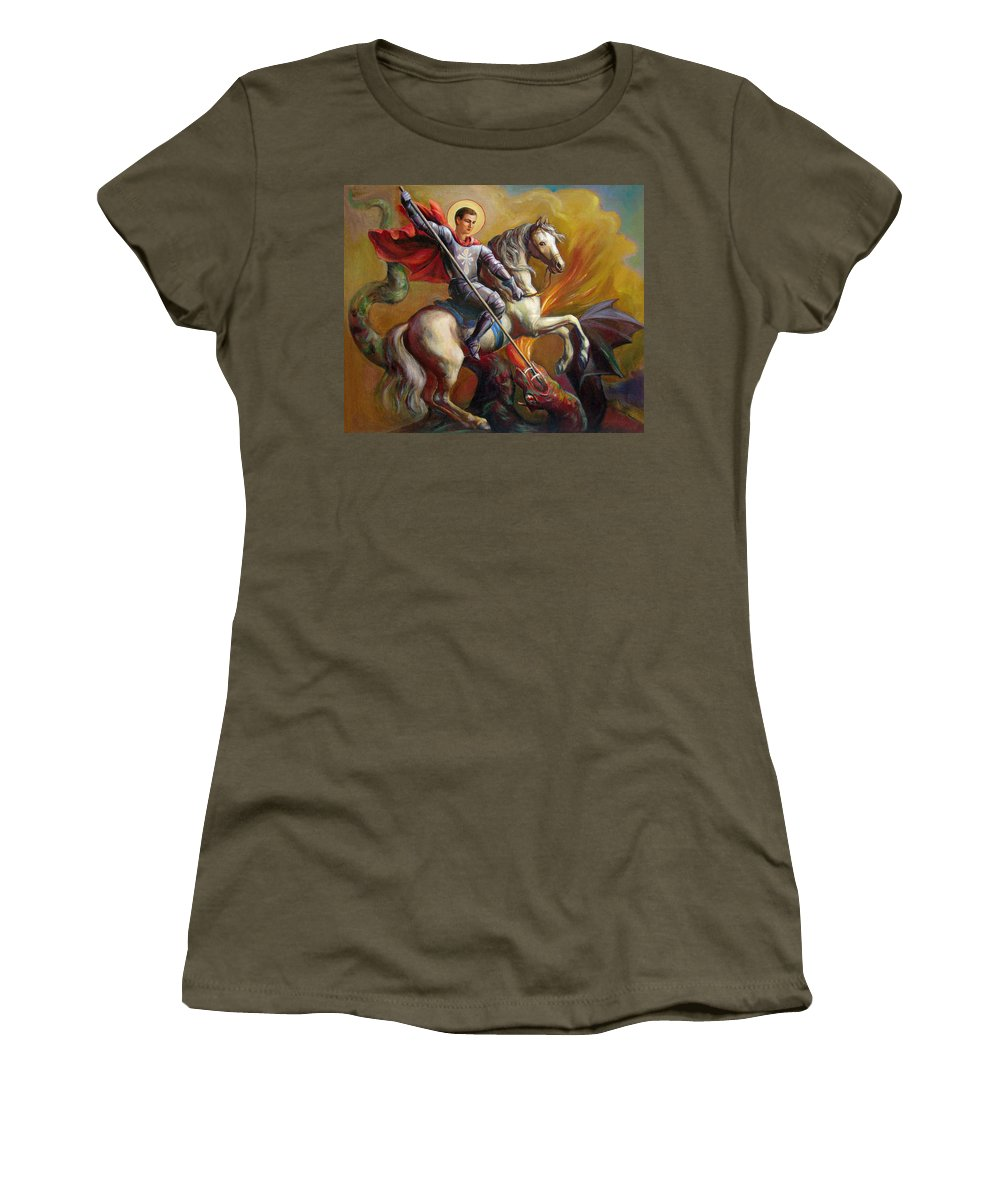 Saint George Women's T-Shirt (Athletic Fit) featuring the painting Saint George And The Dragon by Svitozar Nenyuk