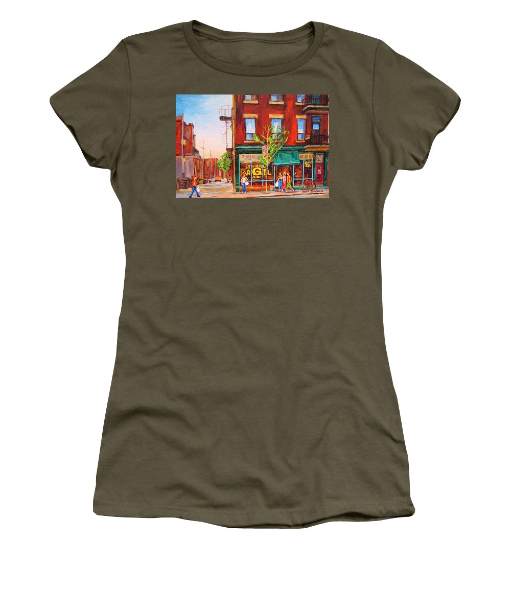 Montreal Women's T-Shirt (Athletic Fit) featuring the painting Saint Viateur Bagel by Carole Spandau