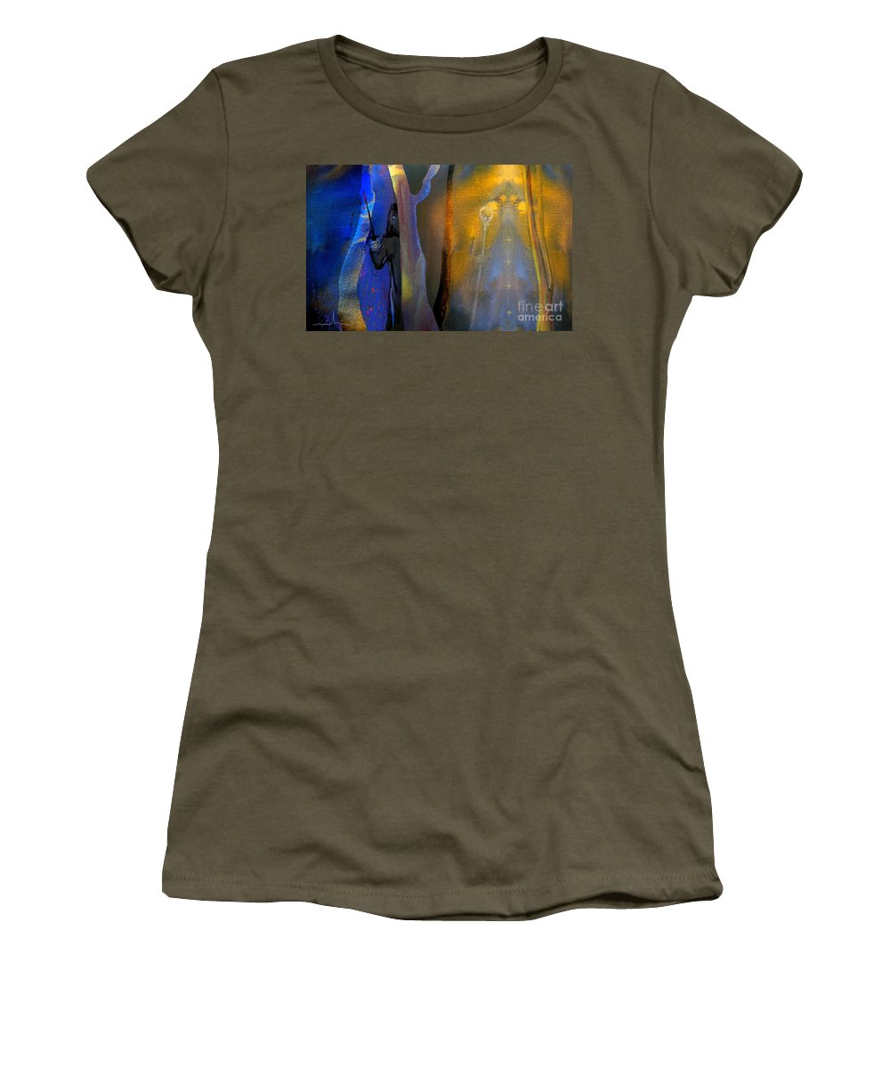 Bile Art Women's T-Shirt (Athletic Fit) featuring the painting Saints And Sinners by Miki De Goodaboom