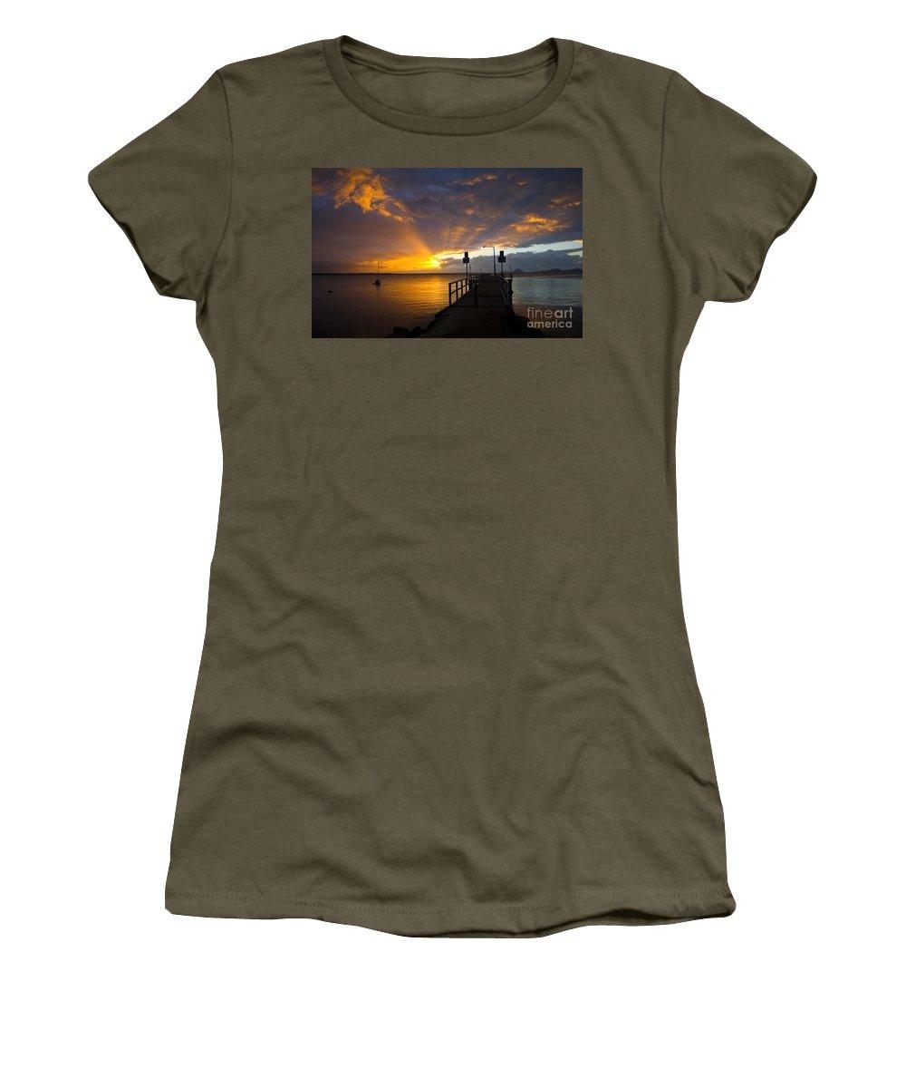 Sunrise Women's T-Shirt (Athletic Fit) featuring the photograph Salamander Bay Sunrise by Sheila Smart Fine Art Photography