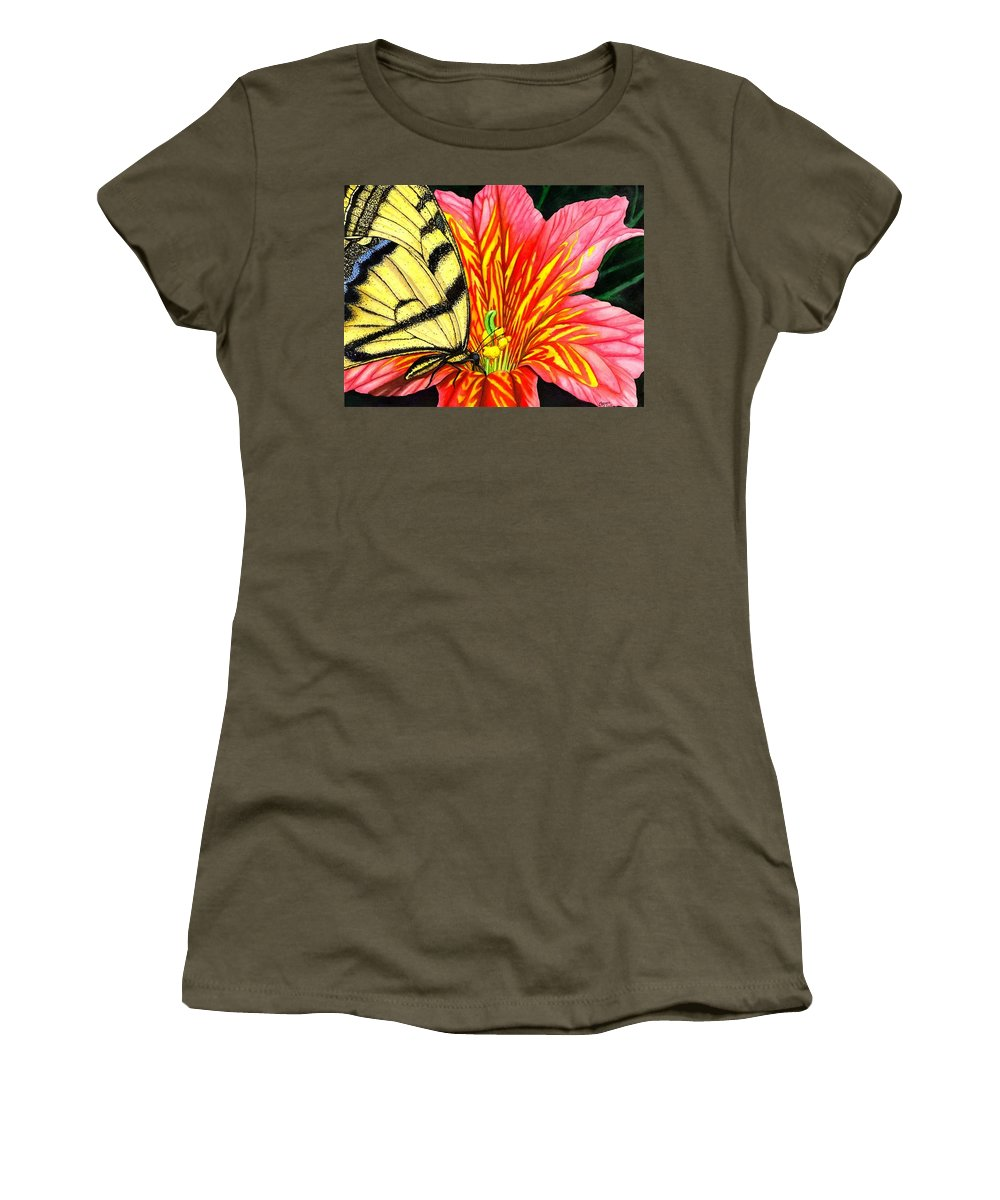 Salpiglossis Women's T-Shirt (Athletic Fit) featuring the painting Salpliglossis by Catherine G McElroy