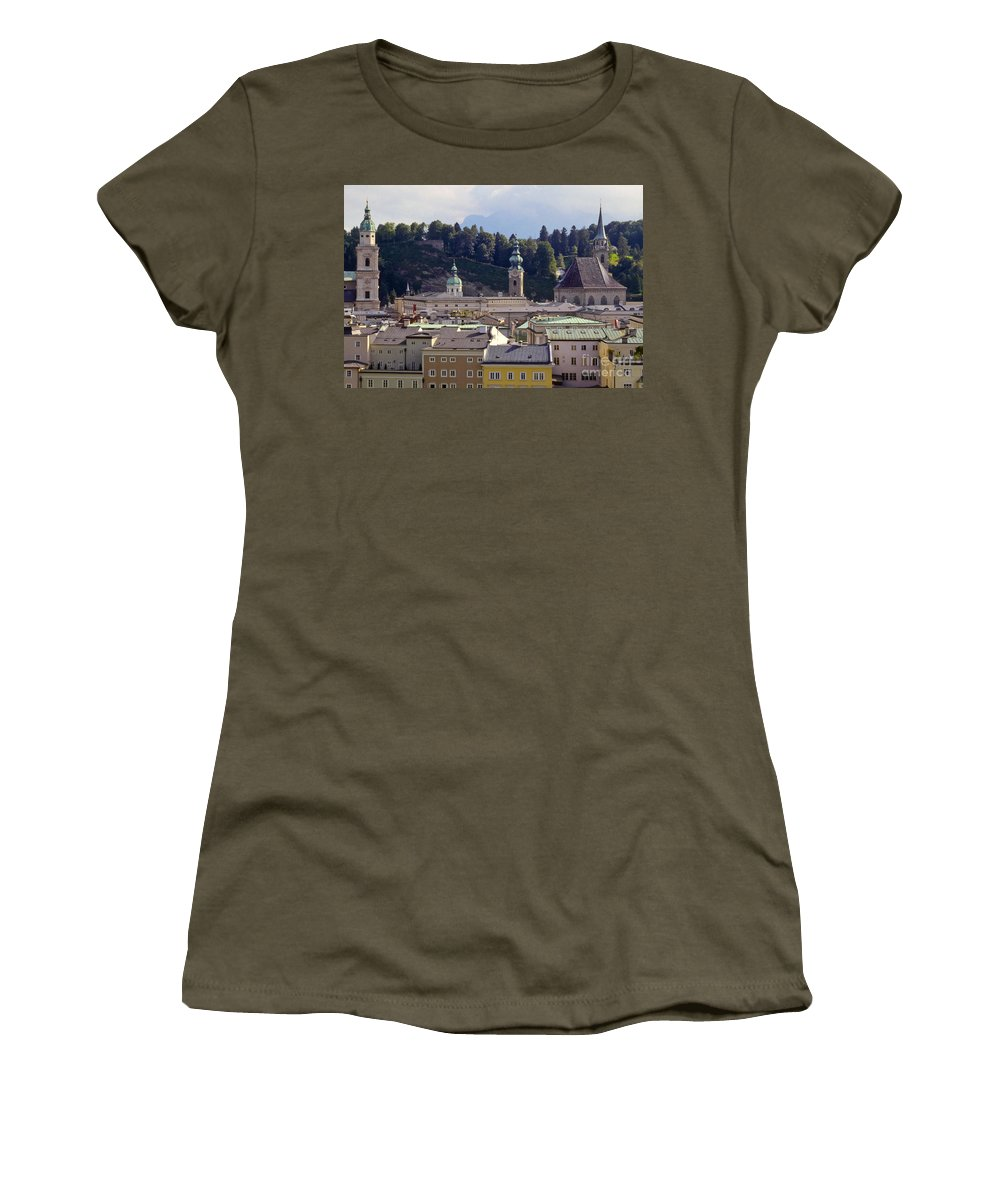 Salzburg Austria Tree Trees Building Buildings Structure Structures Architecture Landscape Landscapes Church Churches Place Places Of Worship City Cities Cityscape Cityscapes Women's T-Shirt featuring the photograph Salzburg City View Three by Bob Phillips