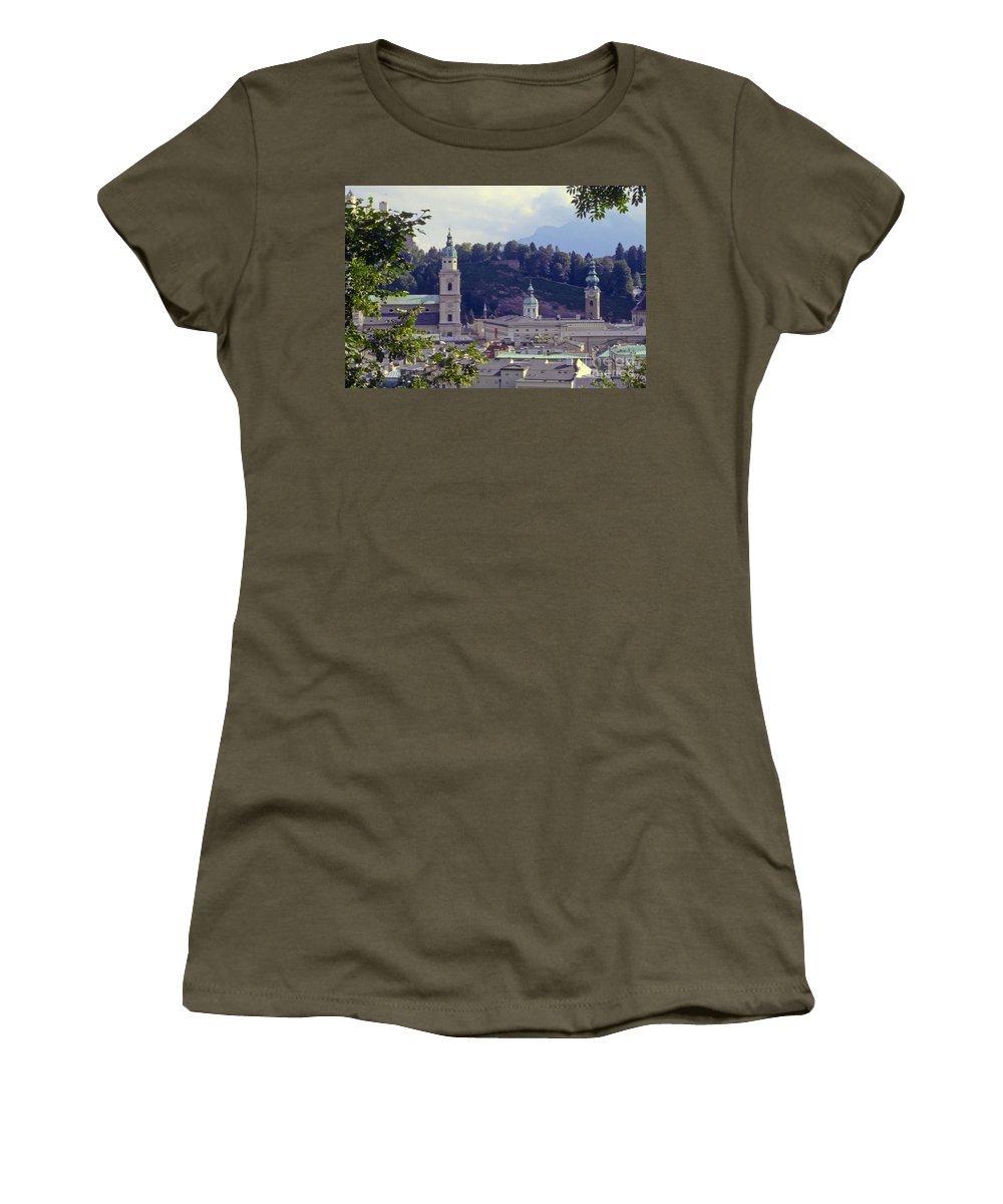 Salzburg Austria Tree Trees Building Buildings Structure Structures Architecture Landscape Landscapes Church Churches Place Places Of Worship City Cities Cityscape Cityscapes Women's T-Shirt featuring the photograph Salzburg City View Two by Bob Phillips