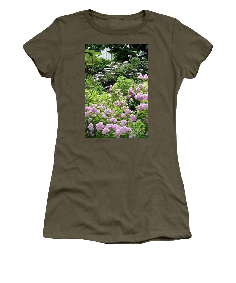 Austria Women's T-Shirt featuring the photograph Pink Hydrangeas In Mirabell Garden by Carol Groenen