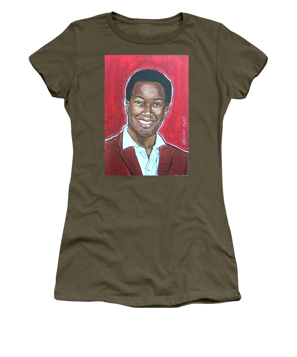 Sam Cooke Women's T-Shirt featuring the painting Sam Cooke by Bryan Bustard