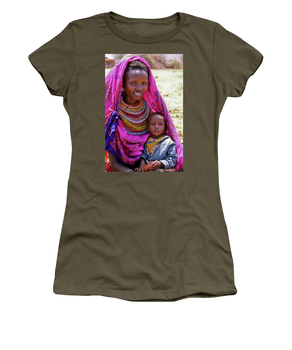 Africa Women's T-Shirt (Athletic Fit) featuring the photograph Samburu Madonna by Michele Burgess