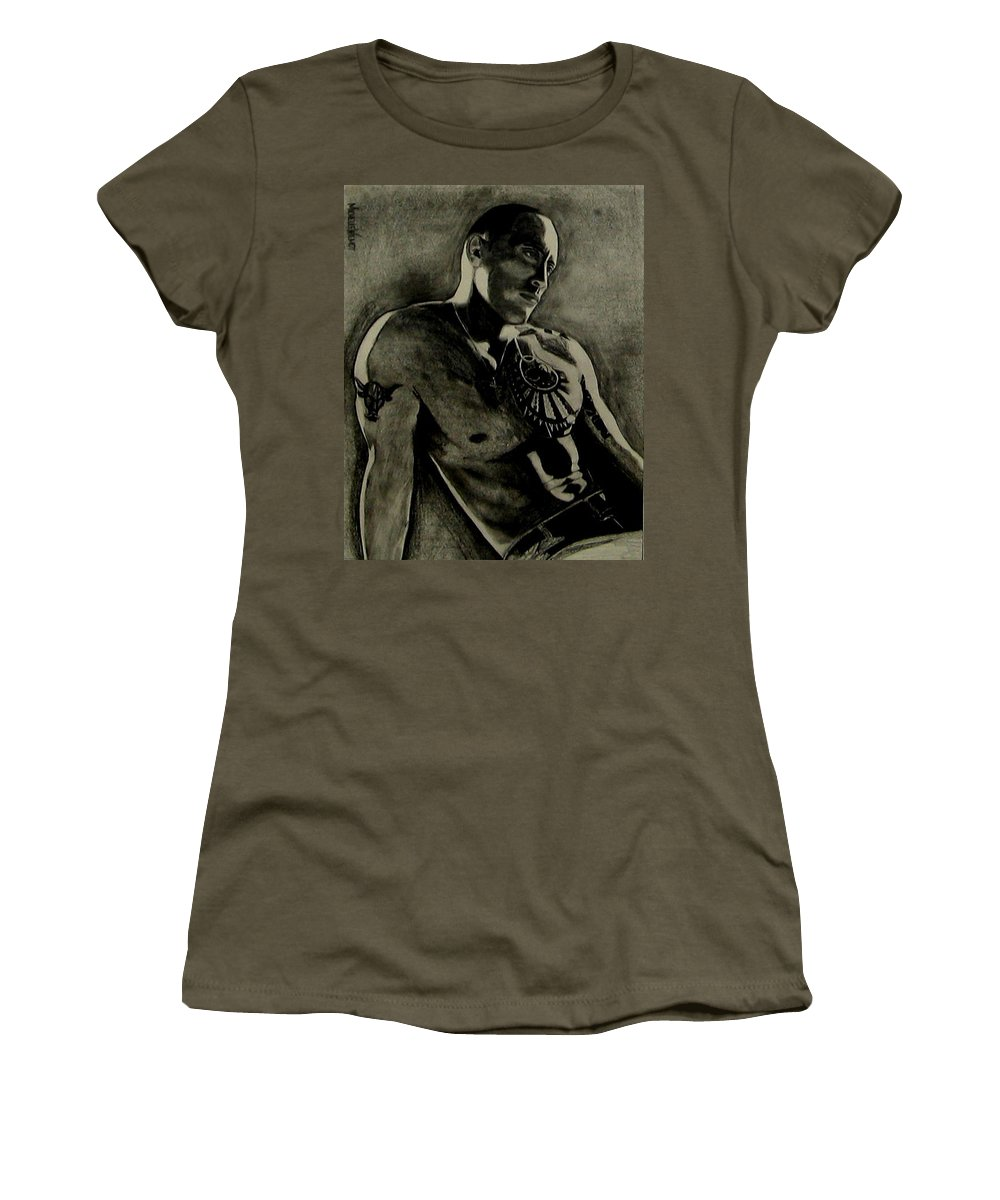 The Rock Women's T-Shirt (Athletic Fit) featuring the drawing Samoan Idol by Michelle Dallocchio