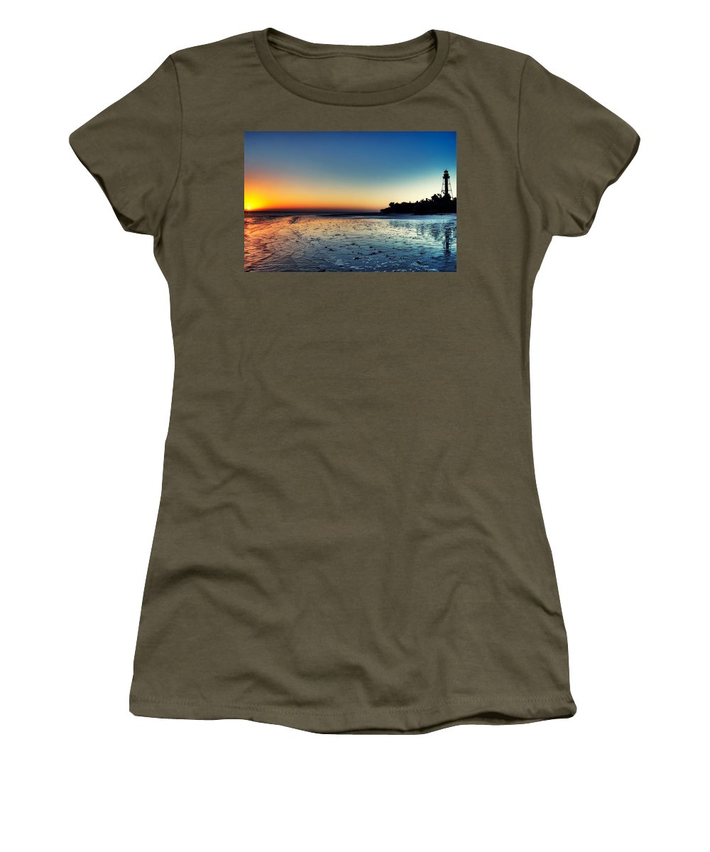 Lighthouse Women's T-Shirt (Athletic Fit) featuring the photograph Sanibel Sunrise by Rich Leighton
