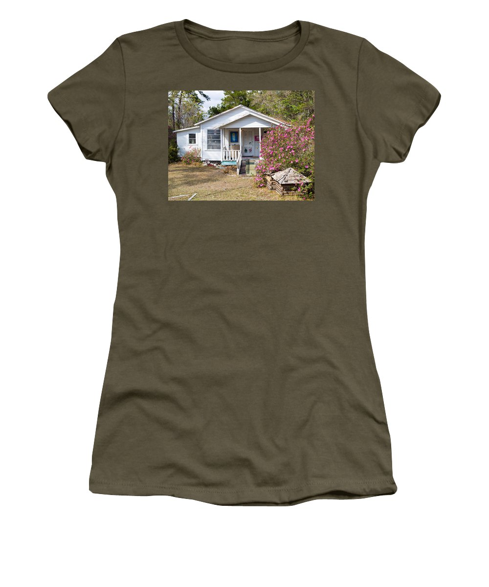 Cabin Women's T-Shirt (Athletic Fit) featuring the photograph Santa And Mrs Claus Spend The Spring Months Relaxing by Allan Hughes